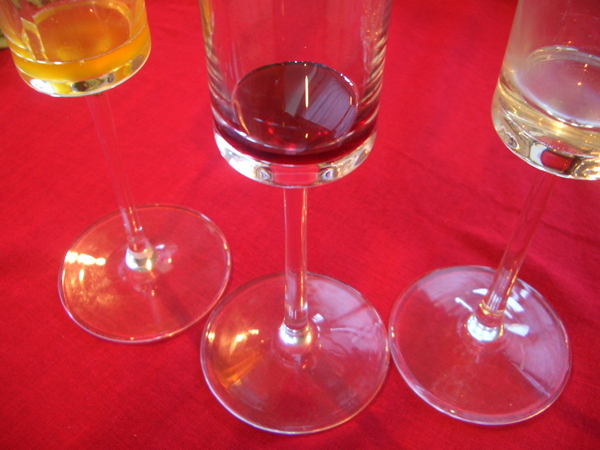syrups glasses